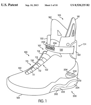 Patent illustration for Nike self-lacing shoes