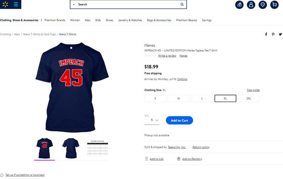 Walmart Draws Fire From Third-Parties' 'Impeach 45' T-Shirts