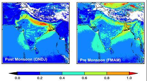 MODIS Aerosol Optical Depth. Source: Pawan Gupta/USRA/GESTAR/NASA