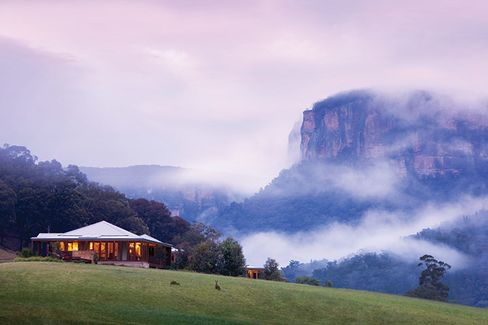 Australia's foggy Wolgan Valley in the Blue Mountains.