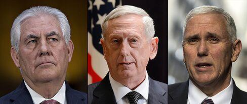 (左から)ティラーソン国務長官、マティス国防長官、ペンス副大統領