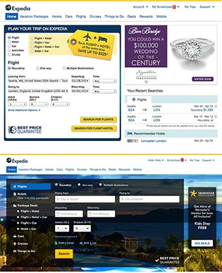 Expedia old (top) and new site. Click to enlarge