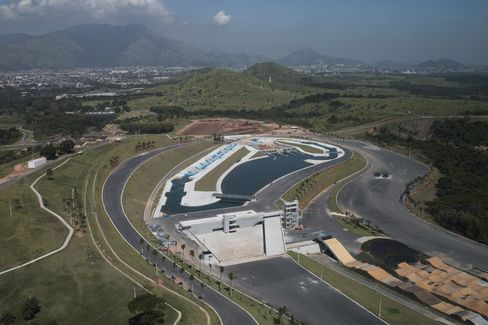 Deodoro Olympic Park showing the canoe slalom circuit, center, and BMX circuit, right.