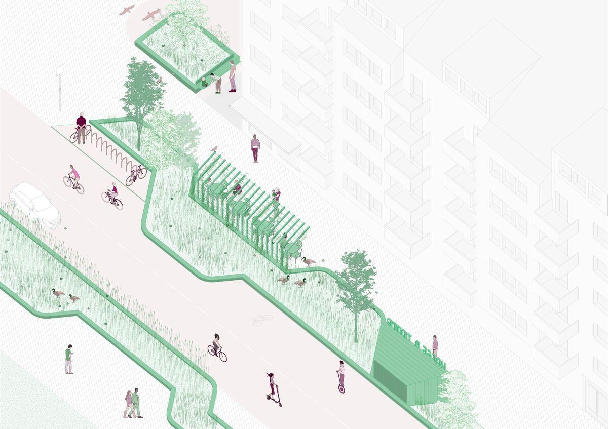 Un rendering finale di una strada per lo Street Moves Project svedese