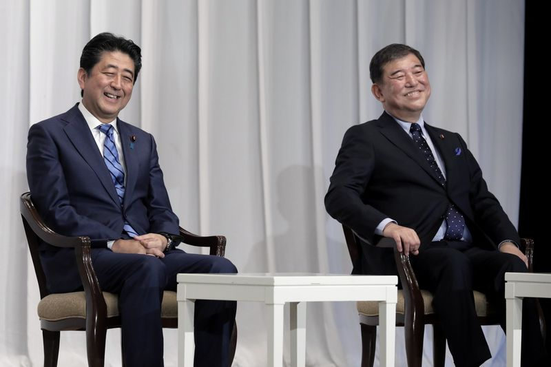 Prime Minister Shinzo Abe and Rival Shigeru Ishiba Speak Ahead of Ruling Liberal Democratic Party's Leadership Vote