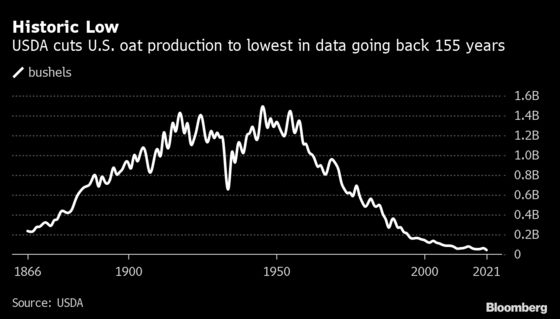 Drought Pushes U.S. Oat Crop to Lowest in Records Back to 1866