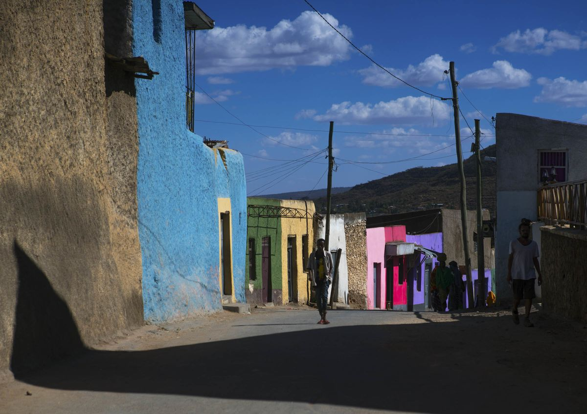 Multicolored houses in the old town, Harari region, Harar, Ethiopia