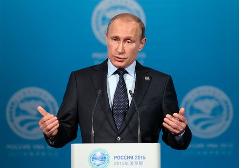 Russian President Vladimir Putin speaks at a news conference after the Shanghai Cooperation Organization (SCO) summit in Ufa, Russia, on July 10, 2015.