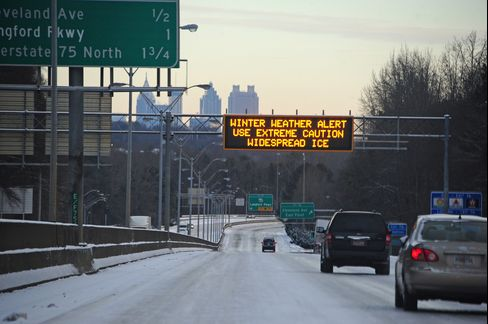 A Sign Warns of a Winter Weather Alert in Atlanta