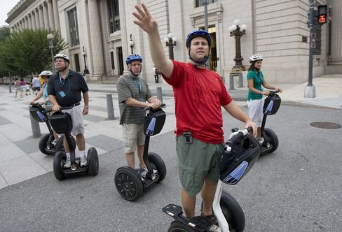 Tour group on Segway personal transporters in Washington