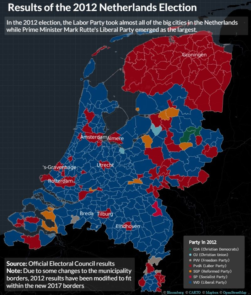 How The Election Changed The Netherlands Bloomberg - Norway election map