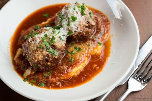 Flavorful beef meatballs with polenta.