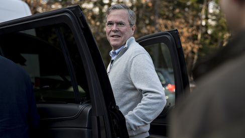 Jeb Bush, former governor of Florida, gets in a vehicle after a town hall in Contoocook, New Hampshire, on Dec. 19, 2015.