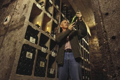 Hanno Zilliken in the Zilliken library cellar, where older vintages age before release.