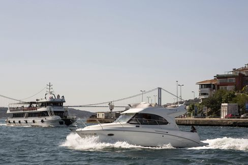 A Beneteau SA motor boat used by UberBoat in Istanbul.