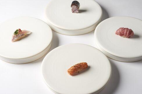 King Salmon, Hagitoro (Tuna), Madai (Japanese Red Snapper), & Mackerel.