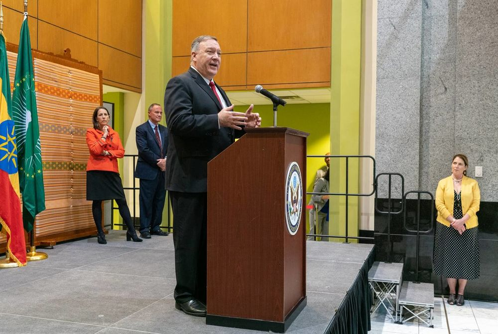 U.S. Secretary of State Mike Pompeo speaks at the U.S. embassy in Addis Ababa on Feb. 18.