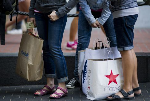 Shoppers Stand With Their Goods