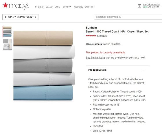Macy's Website No Longer Offers Sheet Set Questioned by Agency