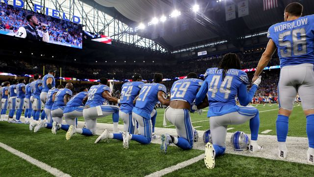 Some NFL players kneel Sunday during national anthem
