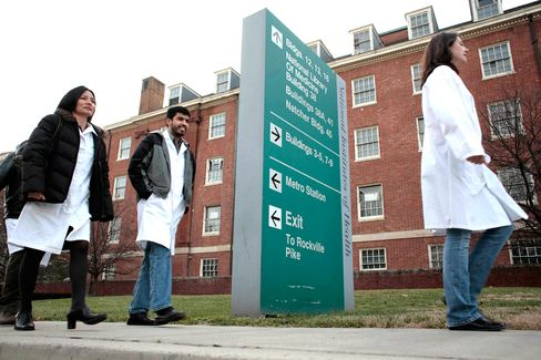 Researchers on the campus of the National Institutes of Health in Bethesda, Maryland.