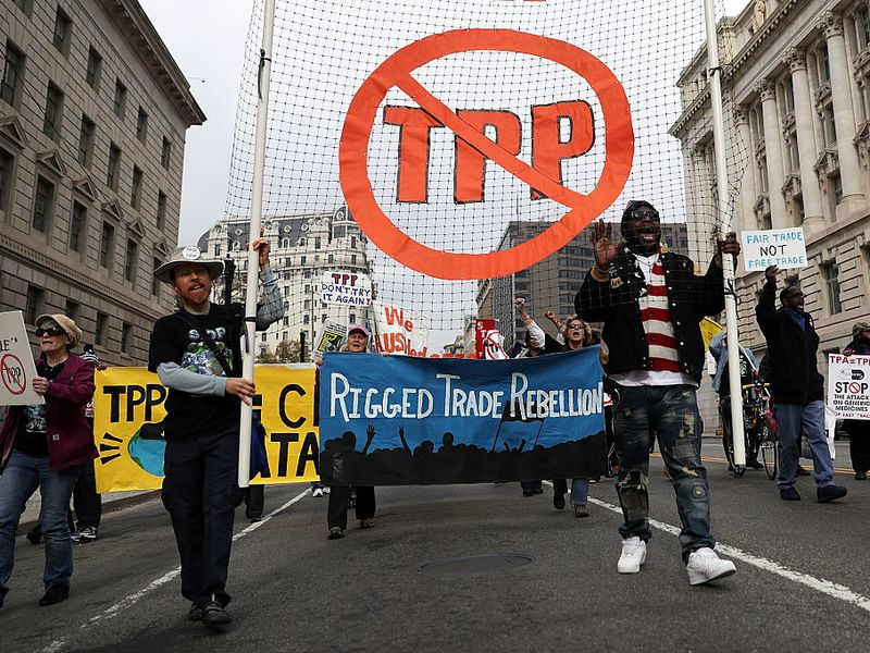 Activists Protest Trans-Pacific Partnership In Washington DC