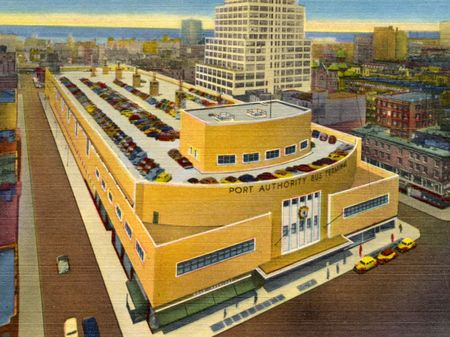 A vintage postcard showing the Port Authority Bus Terminal on Eighth Avenue and 41st Street in Manhattan, with a view of New Jerseyin the distance.