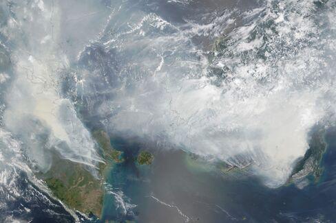Smoke blankets Indonesia in this satellite photo taken by NASA's Terra satellite on Sept. 24, 2015.