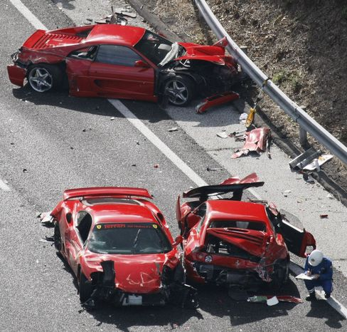 Eight Ferraris Crash at 'Gathering of Narcissists' in Japan
