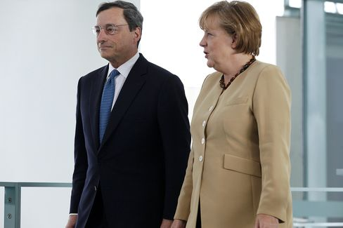 Angela Merkel and Mario Draghi