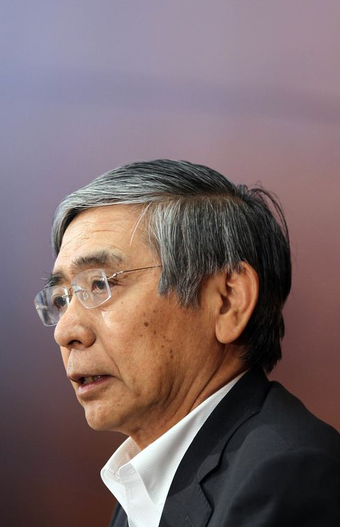 Haruhiko Kuroda, governor of the Bank of Japan, speaks during a news conference on Oct. 7.