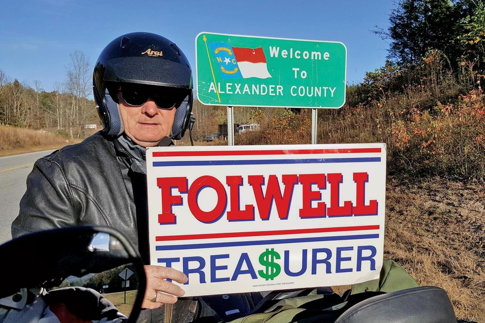 Folwell campaigning on his motorcycle