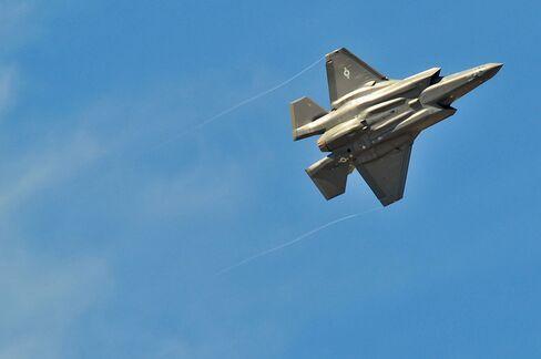 An F-35 fighter jet.