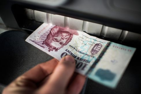 A Customer Withdraws a Forint Currency Note from an ATM