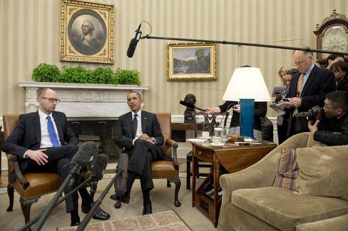 Ukrainian PM Arseniy Yatsenyuk & U.S. President Barack Obama
