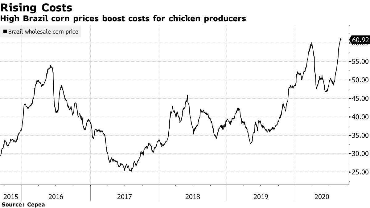 High Brazil corn prices boost costs for chicken producers