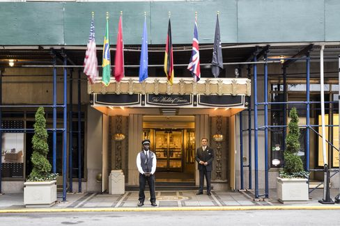 The Waldorf Towers entrance, which leads to the hotel's third and most exclusive lobby.