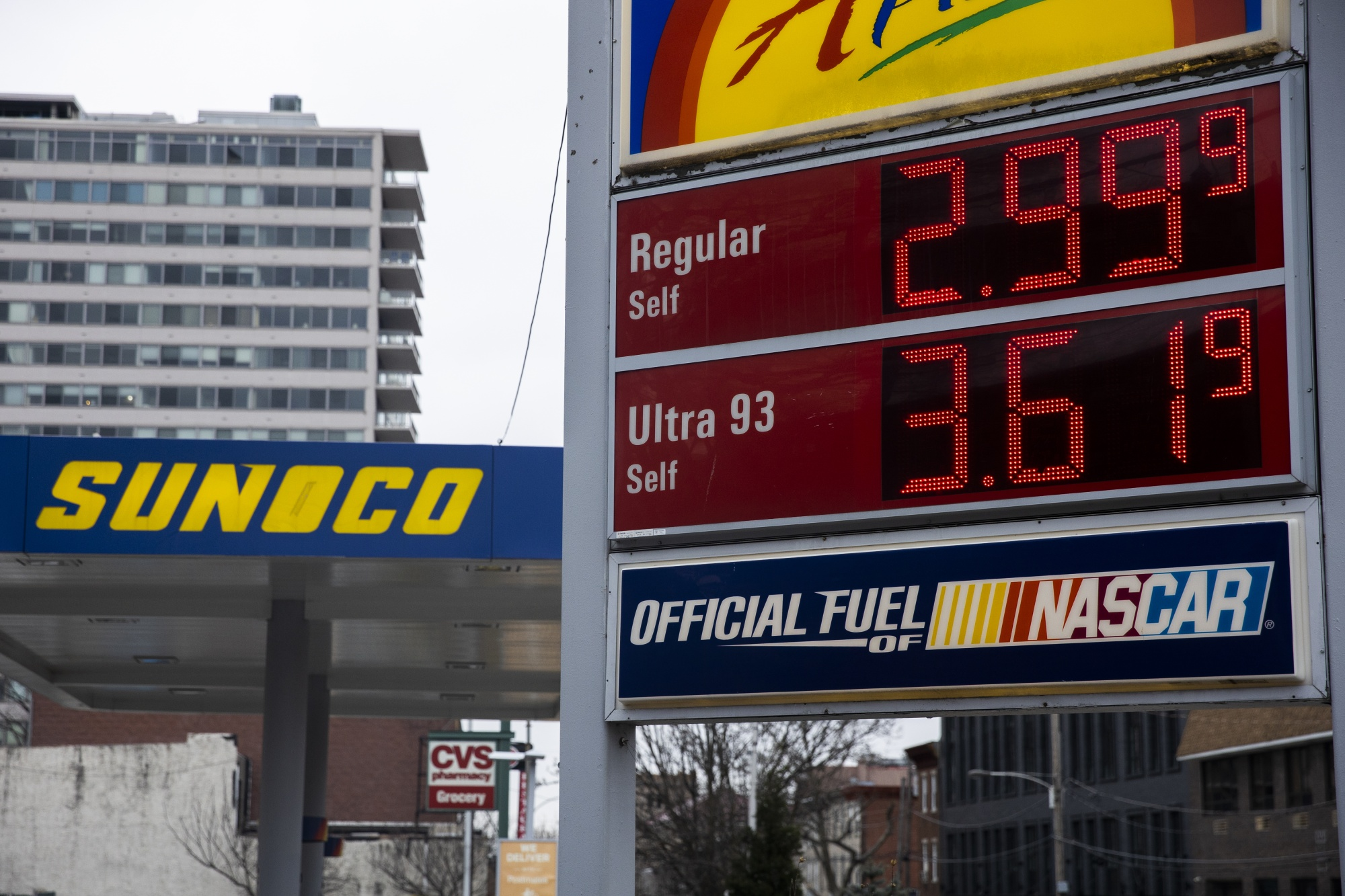 Fuel prices at a gas station in Philadelphia, March 17.