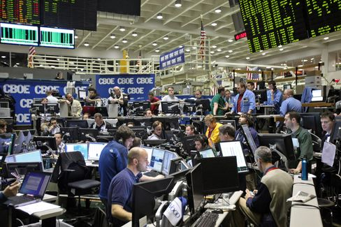 Traders Work in the VIX Pit at CBOE in Chicago