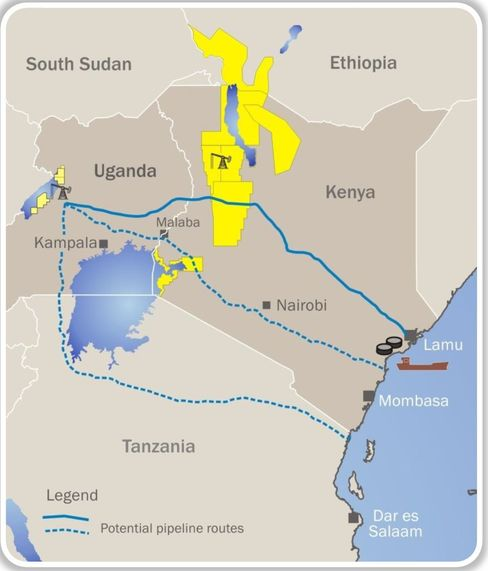 Proposed East African Pipelines. Source Tullow Oil