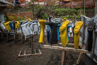 Wellies at an Ebola treatment centre in Goma, DR Congo is