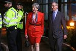 Theresa May arrives with her husband Philip at the count centre in Maidenhead on June 9. Photographer: Geoff Caddick/AFP via Getty Images