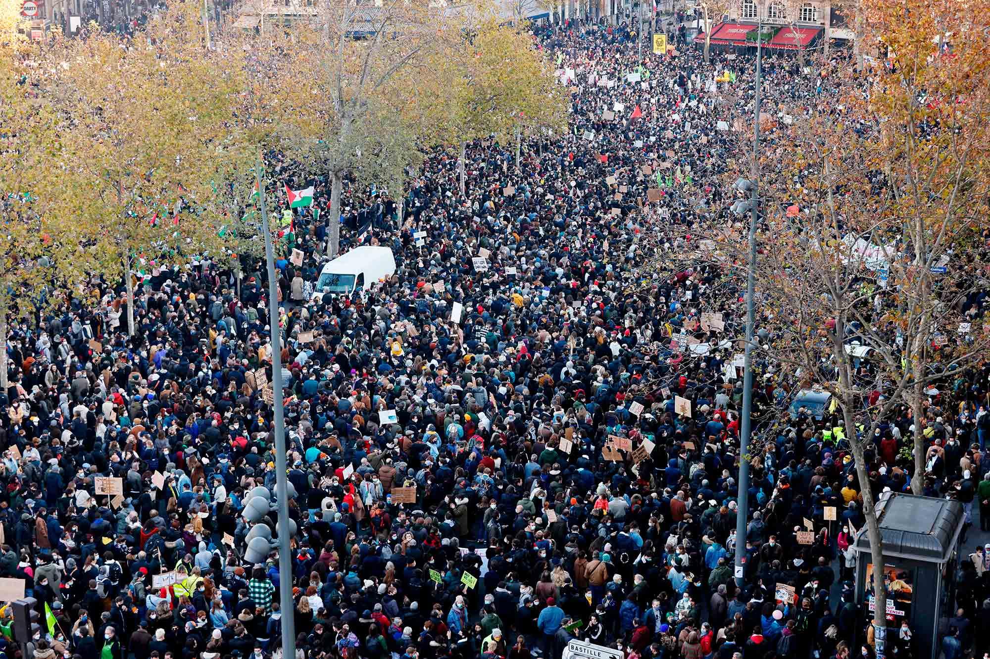 "Anti ""global security"" law protestersin Paris on Nov. 28"
