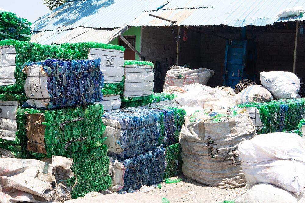 Bundled plastic at Plastic Bank partner Bali PET Recycling.
