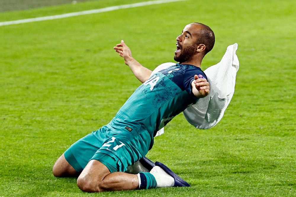 Tottenham's Lucas Moura celebrating in Amsterdam.
