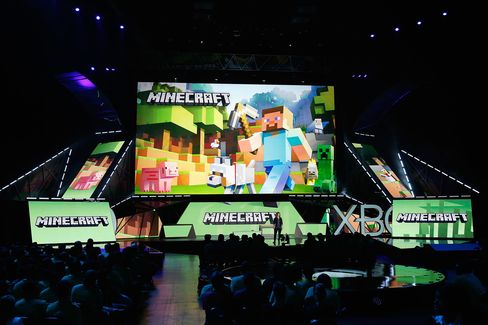 Mojang's 'Director of Fun' Lydia Winters speaks about 'Minecraft' during the Microsoft Xbox E3 press conference at the Galen Center on June 15, in Los Angeles.
