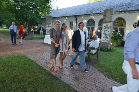 Guild Hall, on Main Street in East Hampton, draws a crowd on a Friday evening.