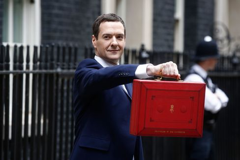Chancellor of the Exchequer George Osborne holds the dispatch box as he exits 11 Downing Street in London, on July 8, 2015.