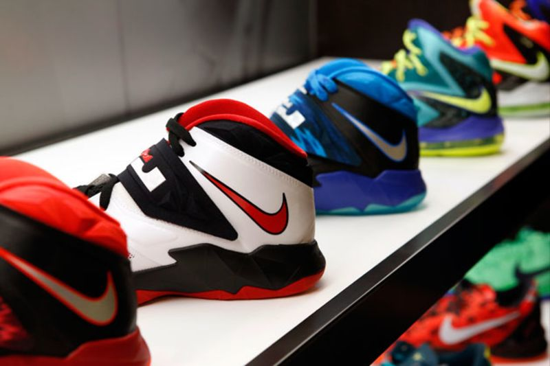Nike basketball shoes on display at the House of Hoops by Foot Locker store  at the Beverly Center in Los Angeles, on Aug. 21 Photograph by Patrick T.  ...