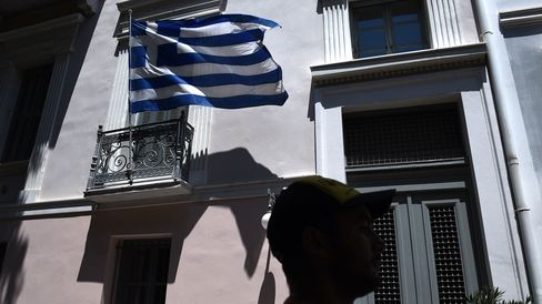 A Greek flag in Athens on July 22, 2015.